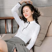 工装加绒职业衬衫女长袖2018春装新款修身秋装白色衬衣女士工作服
