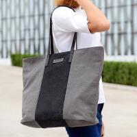 2016新款韩版潮包帆布包女简约撞色拼接韩版手提包单肩大包购物袋