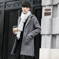 秋冬新款男中长款连帽呢料大衣韩版修身风衣潮青年毛呢外套单排扣 灰色 M