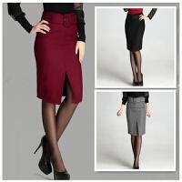 20秋冬款纯色羊毛呢裙子女大码半身裙加厚包臀中长裙一步裙显瘦