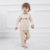 活力熊仔 跨境儿童套装秋季婴儿服装彩棉长袖套头上衣长裤两件套