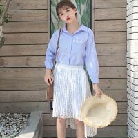 春装新款女装韩版新款中长款条纹衬衫连衣裙+蕾丝镂空半身裙套装