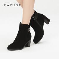 Daphne/达芙妮秋冬时尚高跟女鞋 百搭金属扣饰粗跟短靴10 607041