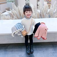 女童毛衣套头2021新款儿童装洋气秋冬装木耳边小童宝宝针织打底衫
