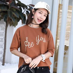 AGECENTRE 2018春夏装新款夏装新款t恤女短袖宽松圆领宽松学生上衣