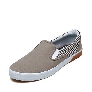 shoebox鞋柜新款套脚布鞋圆头低跟男士休闲鞋男单鞋