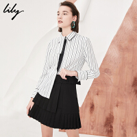 Lily2018春新款女装商务通勤竖条纹直筒衬衫系领衬衫女118110C4624