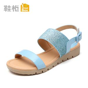 达芙妮旗下shoebox鞋柜凉鞋女平底 简约低跟一字面罗马皮带扣凉鞋