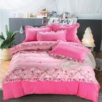 韩版法莱绒四件套加厚珊瑚绒法兰绒床单加绒被套冬季保暖床上用品 粉红色 花意满枝粉