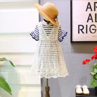 女童套装夏季新款中小童百搭长款条纹T+蕾丝背心连衣裙套