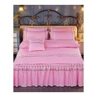 四件套床裙 加厚床罩被套蕾丝套件床裙公主床单被罩可机洗水洗床品套装 被套200x230cm 床裙200x220cm