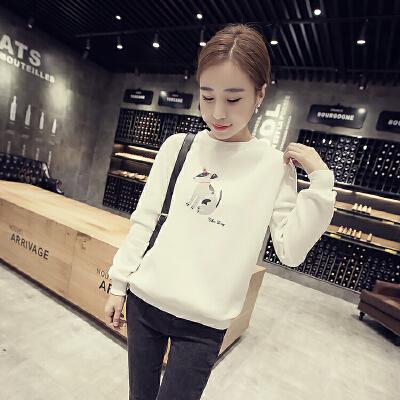 韩观套头卫衣女韩版潮学生宽松显瘦加绒加厚原宿风长袖上衣服外套SN708  均码