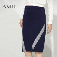 【品牌团 1件7折/2件5折】Amii[极简主义]秋装女新品条纹印花松紧腰半身裙11672365
