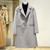 韩版休闲双面呢大衣女2017冬装新款 西装领中长款百搭呢子外套