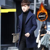 冬季男士中长款毛呢大衣韩版修身立领青年冬装英伦风加绒风衣外套
