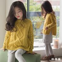 女童毛衣套头秋冬装新款韩版中大儿童加厚圆领针织衫纯棉外套