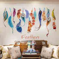 自粘墙贴纸贴画客厅沙发电视房间墙面装饰品创意个性宿舍羽毛壁纸