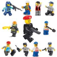 积木拼装拼插玩具公仔警察系列小鲁班儿童男孩小颗粒