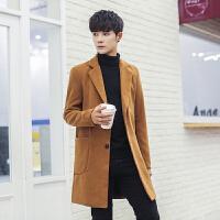 冬季新款韩版商务休闲修身毛呢西装领风衣纯色中款外套男羊绒大衣