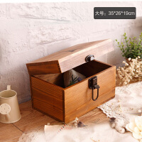 大号木头盒子储物盒家用木箱子长方形木质小号简约收纳盒带锁复古
