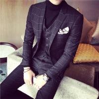 韩版西服经典方格气质修身男士西服美发师新郎西装伴郎西装三件套 黑色