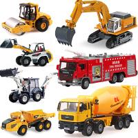 合金工程车模儿童玩具车 挖掘机翻斗车搅拌车消防汽车模型