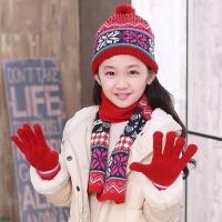 女童秋冬帽子围巾手套套装 学生中童大童圣诞帽子围巾手套三件套