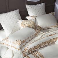 家纺法式纯棉100支床上用品四件套全棉别墅刺绣纯色被套