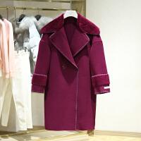 双面呢大衣女冬装新款 翻领中长款纯色双排扣宽松毛呢外套