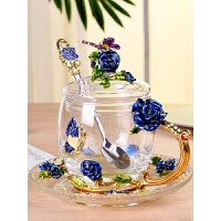 珐琅彩水杯玻璃杯子家用玫瑰花茶杯带把套装女友礼物