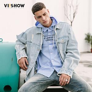 VIISHOW2018春季新款夹克男 潮牌牛仔方领破洞上衣男士飞行员外套