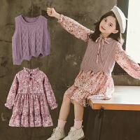 女童套装秋装时尚毛衣背心连衣裙洋气时髦两件套潮