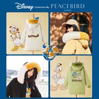 【迪士尼联名】太平鸟中长款大真毛领羽绒服女白色工装2019冬新黑