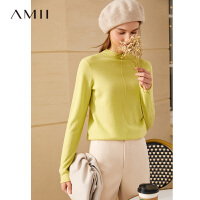 【2折叠券预估价:165元】Amii极简百搭100%纯新羊毛薄款毛衣2020秋新款高领套头打底上衣女