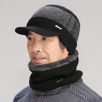 中老年帽子男女冬季中年爸爸帽秋冬保暖老年人帽子围脖老人毛线帽