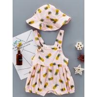 婴儿夏款女宝宝吊带爬爬服0-6-12个月新生儿连帽夏装薄款哈衣