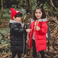 儿童羽绒服男童女童中长款连帽保暖外套宝宝白鸭绒冬装潮