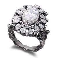 先恩尼钻石 2克拉异戒指 做旧白树技设计18k金 钻石戒指 XZJA7020精致唯美