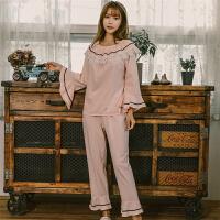 冬季睡衣女秋套装可爱学生韩版公主纯棉长袖夏甜美清新莫代尔睡服 粉红色 72028套装
