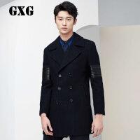 GXG男装 修身藏青色羊毛呢大衣男外套呢子大衣#54226301