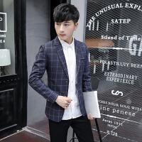 秋装休闲小西装外套男秋季韩版修身男士小西服潮格子单西上班衣服