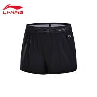 李宁运动短裤女士2018新款跑步系列梭织短装夏季运动裤AKSN012