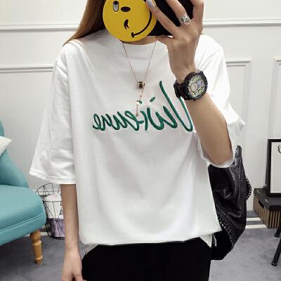RANJU 然聚 2018女装新品新款夏装新款韩版潮宽松学生T恤女装字母刺绣个性拼接上衣