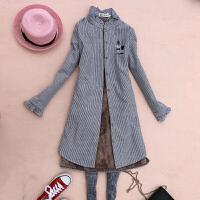 长款加绒保暖衬衫女长袖韩版宽松木耳边领竖条纹冬装加棉衬衣外套 蓝灰色 图片色