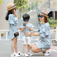 亲子装夏装一家三口四母子母女装全家装T恤连衣裙套装潮