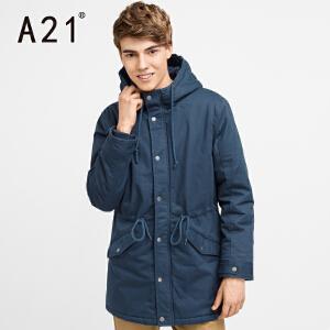 以纯A21男装2017新款冬季外套男 中长款加绒连帽棉衣外套长袖棉服男