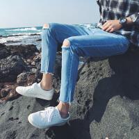 文艺男士夏季新款牛仔裤薄款9分小脚韩版修身潮流破洞九分裤裤子