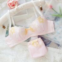 2018新款日系可爱少女太阳花内衣文胸套装舒适上薄下厚无钢圈上托小胸 粉色 套装