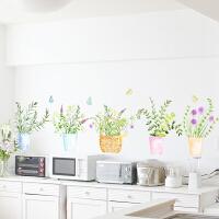 田园植物花篮创意墙贴客厅走廊玄关自粘墙纸贴画卧室房间温馨贴纸