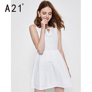 以纯线上品牌a21 夏装新品女装休闲无袖连衣裙 女生简约时尚纯色小清新裙子